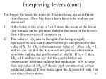 interpreting levers cont