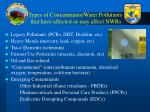 types of contaminants water pollutants that have affected or may affect nwrs