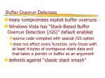 buffer overrun defenses