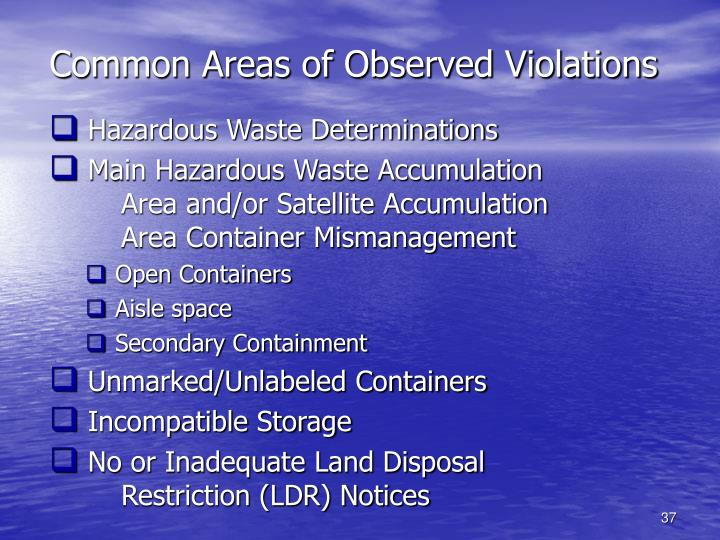 Common Areas of Observed Violations