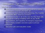 contingency plan violations continued