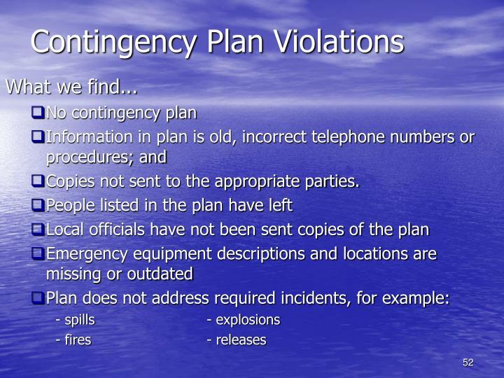 Contingency Plan Violations