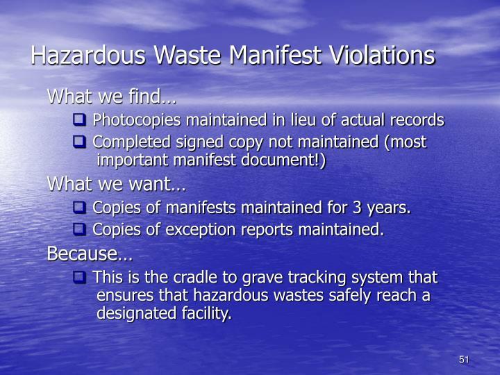 Hazardous Waste Manifest Violations