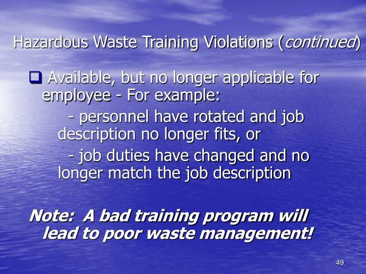 Hazardous Waste Training Violations (