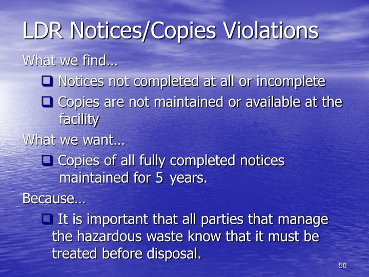 LDR Notices/Copies Violations