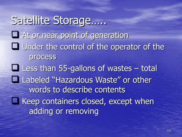 Satellite Storage…..