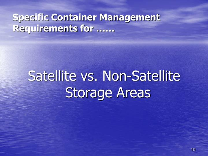 Specific Container Management Requirements for ……