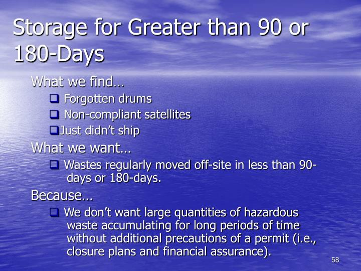 Storage for Greater than 90 or 180-Days