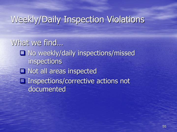 Weekly/Daily Inspection Violations