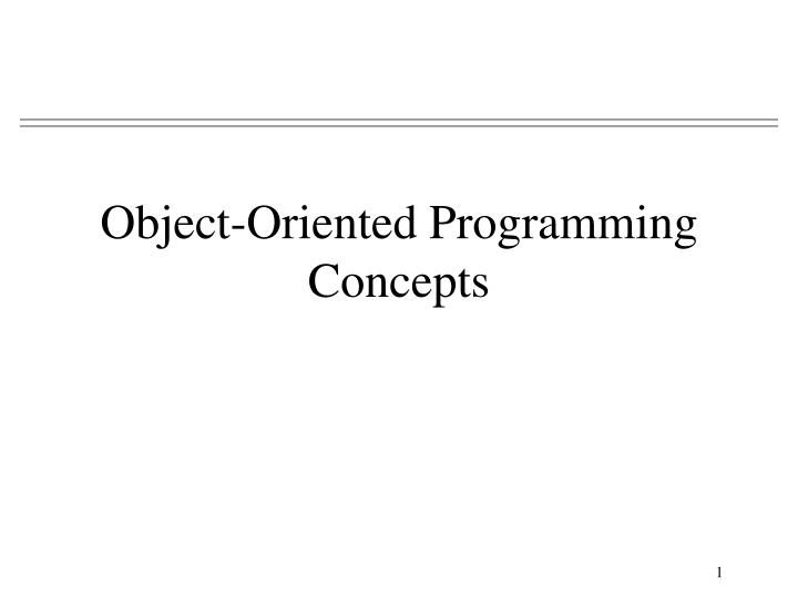 object oriented programming concepts n.