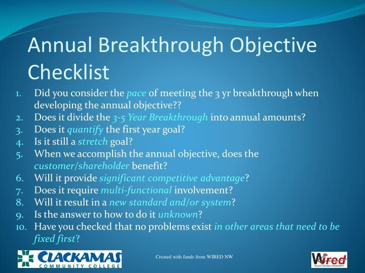 Annual Breakthrough Objective