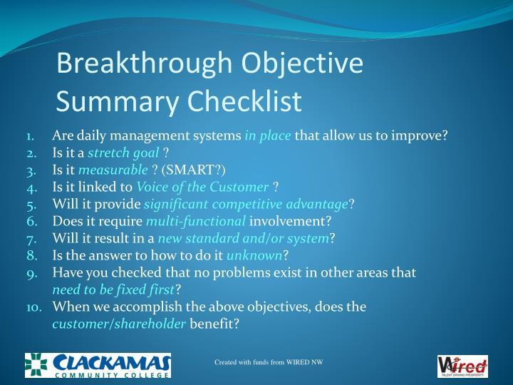 Breakthrough Objective