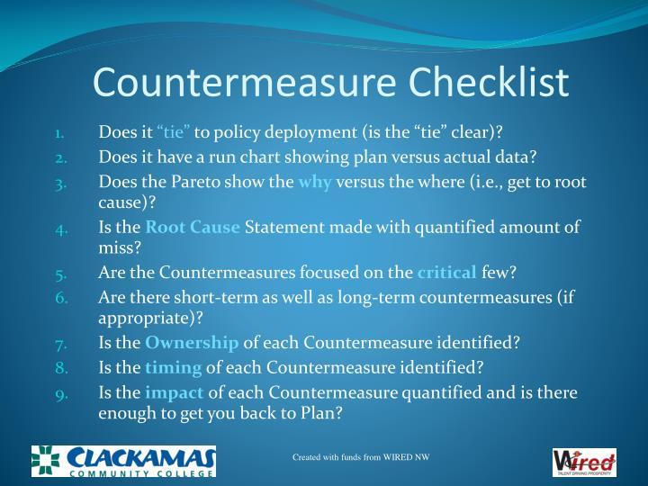 Countermeasure Checklist