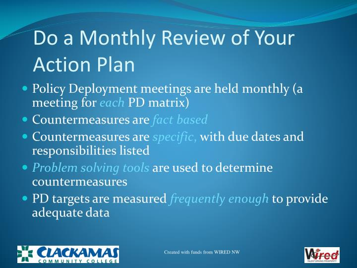 Do a Monthly Review of Your Action Plan