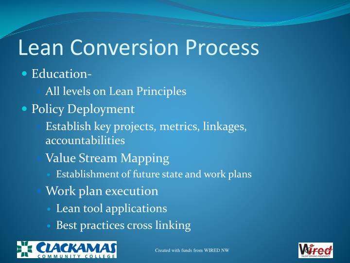 Lean Conversion Process