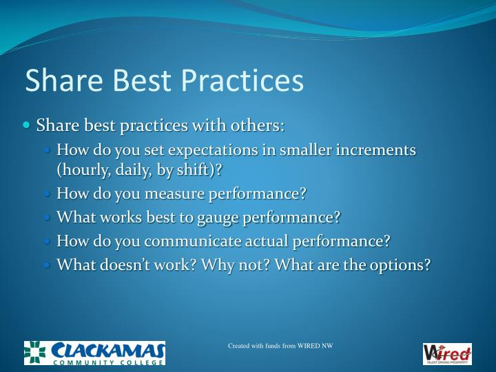 Share Best Practices
