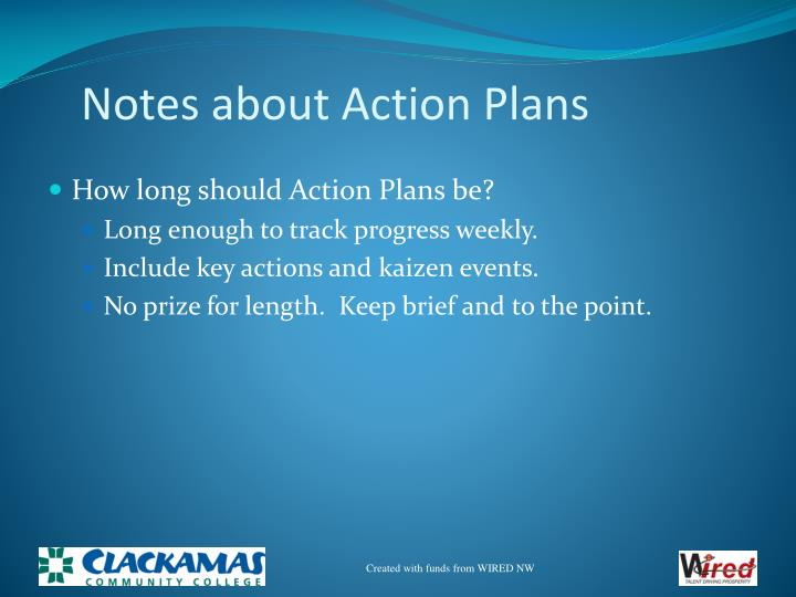 Notes about Action Plans