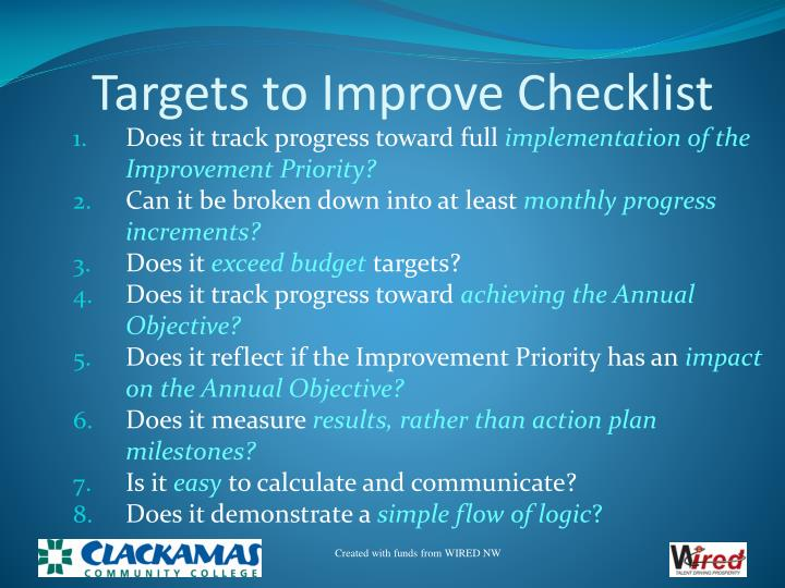 Targets to Improve Checklist