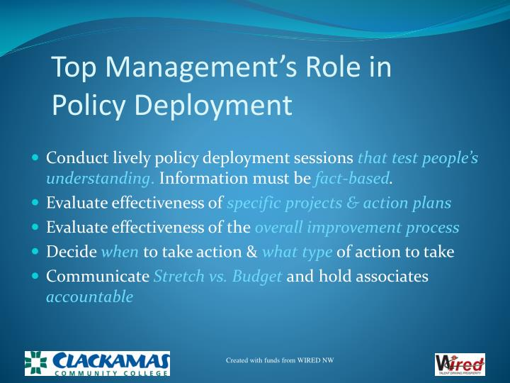 Top Management's Role in