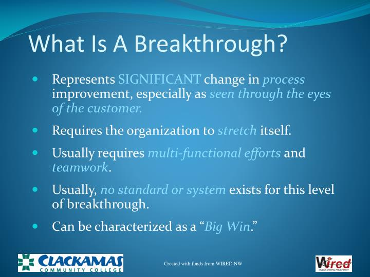 What Is A Breakthrough?