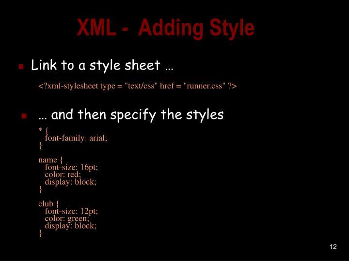 XML -  Adding Style
