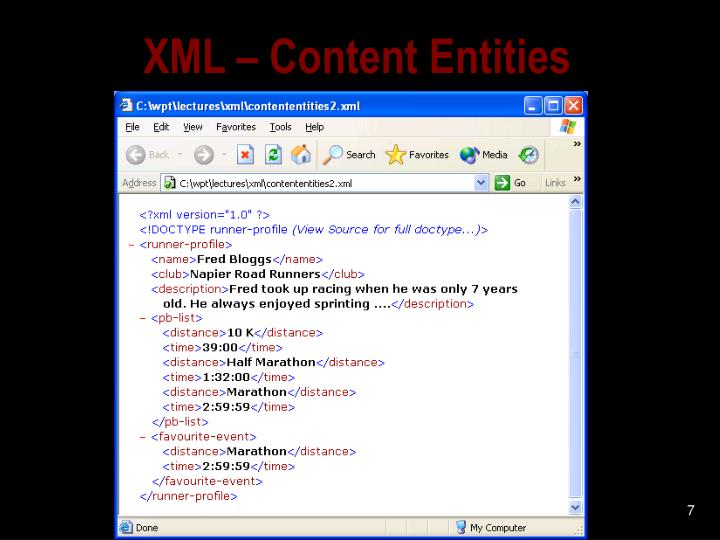 XML – Content Entities