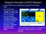 waypoint information goto waypoint