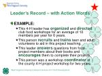leader s record with action words