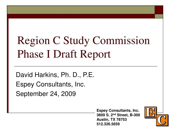 region c study commission phase i draft report n.