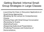 getting started informal small group strategies in large classes