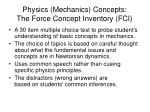 physics mechanics concepts the force concept inventory fci