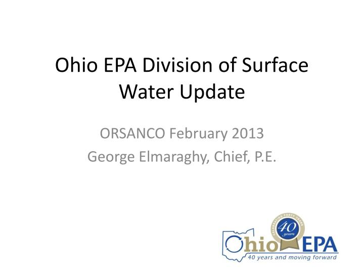ohio epa division of surface water update n.