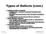 types of defects cont