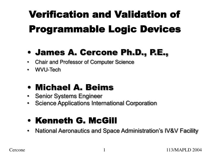 verification and validation of programmable logic devices n.