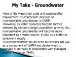 my take groundwater