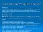 how is water supply managed in the uk