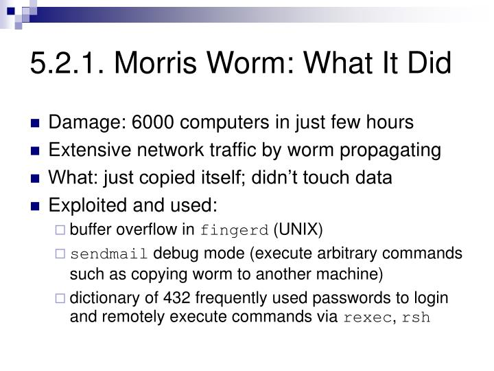 5.2.1. Morris Worm: What It Did
