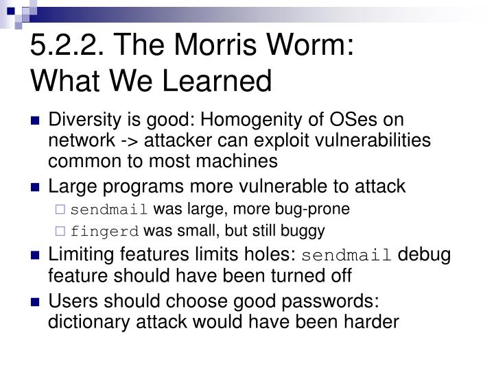 5.2.2. The Morris Worm: