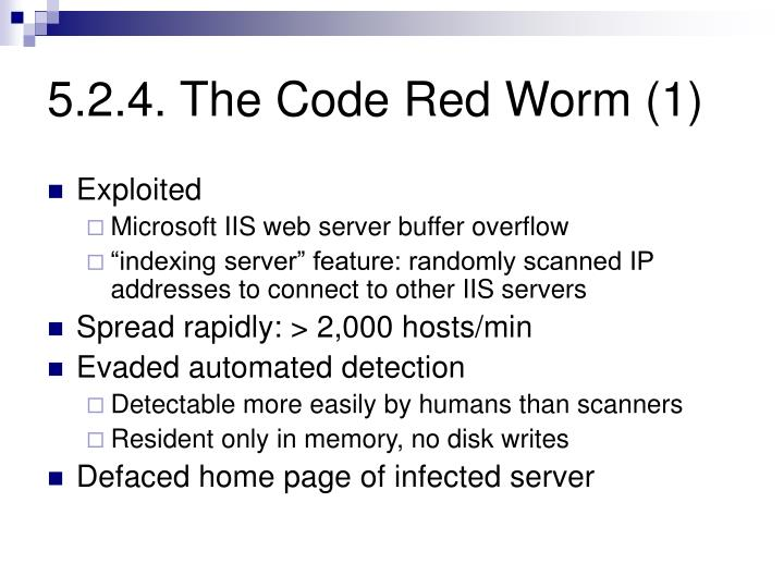 5.2.4. The Code Red Worm (1)