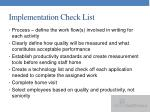 implementation check list