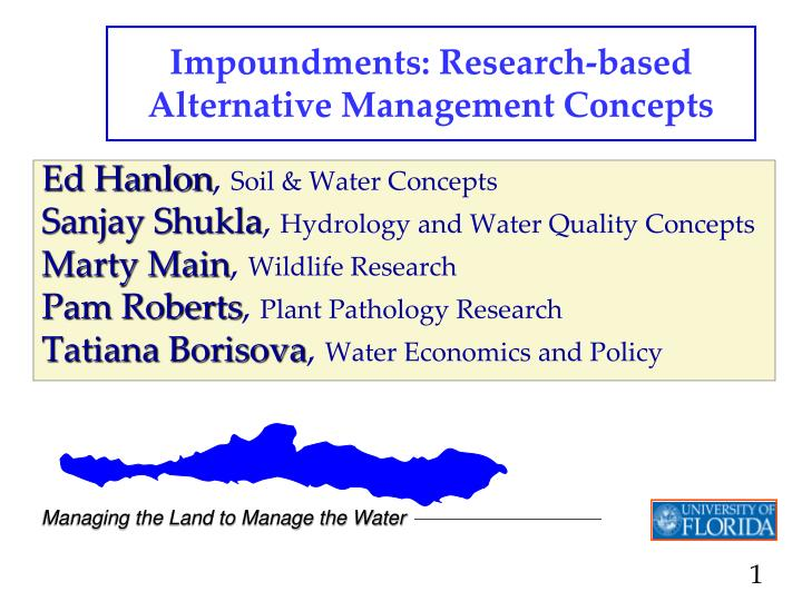 impoundments research based alternative management concepts n.