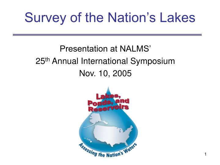 survey of the nation s lakes n.