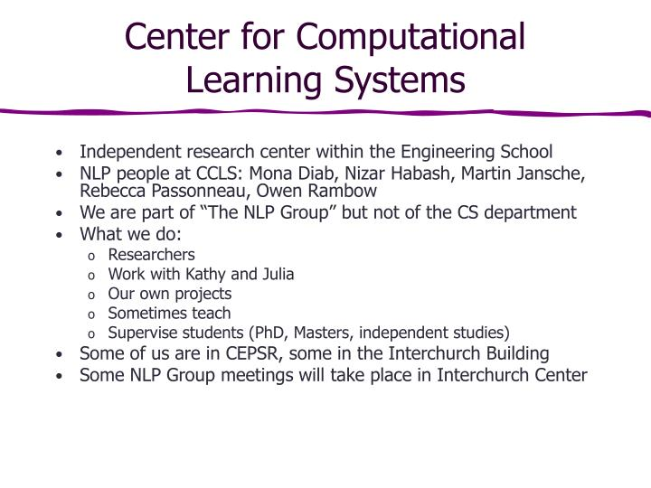 center for computational learning systems n.
