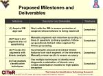 proposed milestones and deliverables
