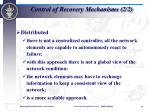 control of recovery mechanisms 2 2
