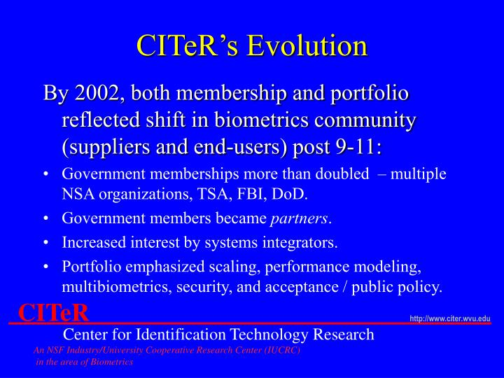 CITeR's Evolution