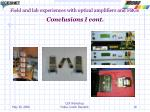 field and lab experiences with optical amplifiers and fbgs conclusions i cont