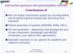 field and lab experiences with optical amplifiers and fbgs conclusions ii