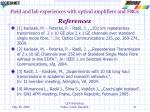 field and lab experiences with optical amplifiers and fbgs references