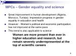 mpcs gender equality and science